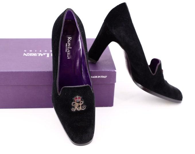 90s Ralph Lauren velvet high heels sz 8 / vintage 1990s Purple Label Collection smoking slippers insignia pumps