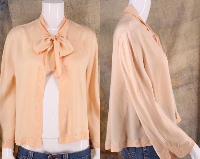 30s silk lingerie jacket with monogram / vintage 1930s pink fluid silk bow tie Deco blouse top M-L