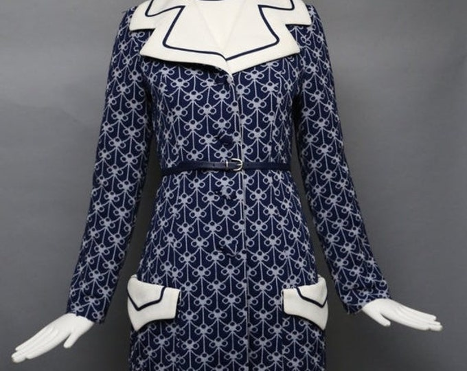 25% OFF 60s LILLI ANN Knit navy poly jersey print Coat & dress set w/ belt vintage 1960s