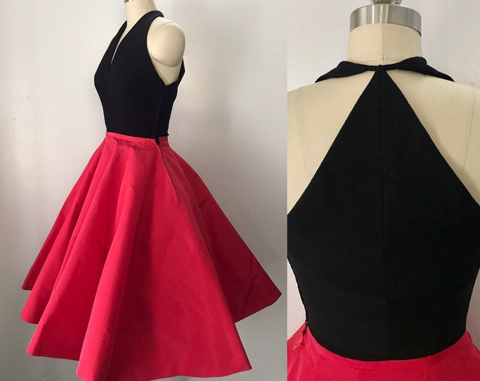 50s SILK TAFFETA vibrant fuschia and wool full skirt party pin up DRESS vintage 1950s
