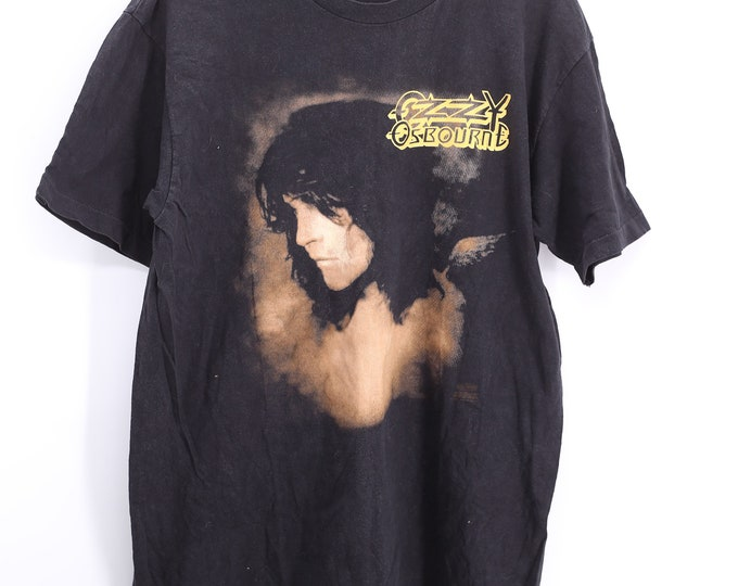 90s Vintage Ozzy Osbourne black No More Tours band T-Shirt Size L HANES 1992 / 1990s rock tour concert tee