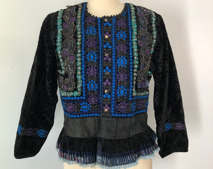vintage FOLK CZECH ethnic antique beaded trim embroidered costume velvet JACKET 40s 50s