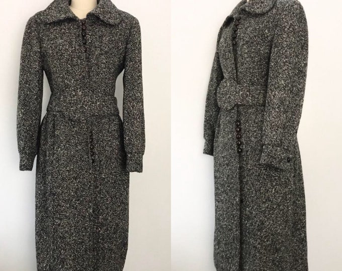 60s PIERRE CARDIN black and white tweed mod CIRCLE belt coat 1960s vintage large
