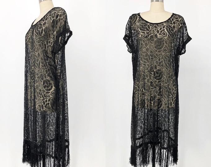 20s ROSE LACE black sheer fringe hem art deco flapper DRESS vintage antique 1920s