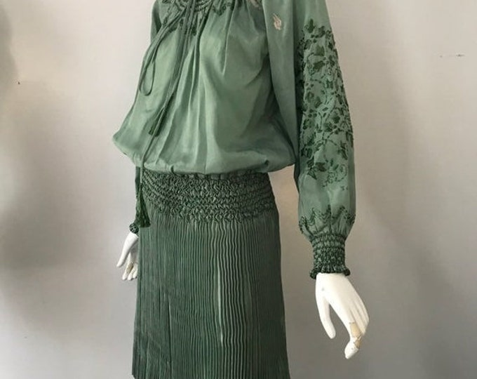 25% OFF 20s HUNGARIAN silk embroidered sage green peasant DRESS w/ Fortuny pleated skirt 1920s antique vintage tlc