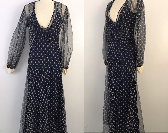 30s POLKA DOT navy mesh bias cut old hollywood GOWN & bolero jacket dress vintage 1930s