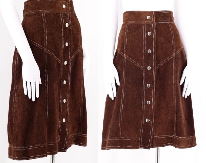"""70s brown suede leather snap skirt / vintage 1970s A line reversible skirt 13/14 L 30"""" waist"""