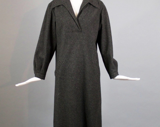 70s HALSTON charcoal gray  wool fleece minimalist avant garde tunic DRESS 10 vintage 1970s