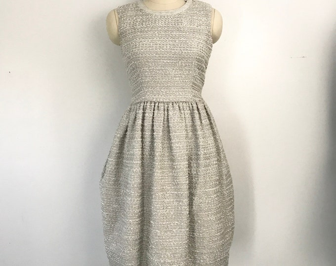 90's DOLCE & GABBANA silvery gray tweed tulip skirt cocktail DRESS w/ pockets vintage 1990s 2