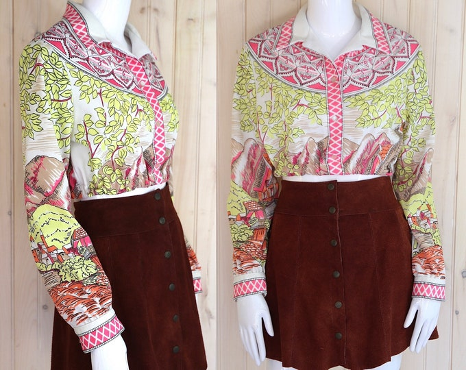 60s 70s Mr Dino novelty print cropped top sz M  / vintage 1970s poly landscape print cropped blouse shirt