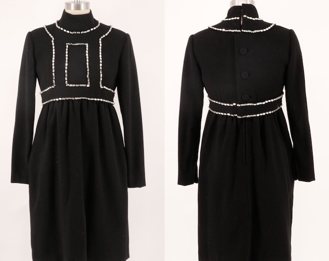 60s DONALD BROOKS black wool crepe mod dress w/ huge white rhinestones 1960s vintage