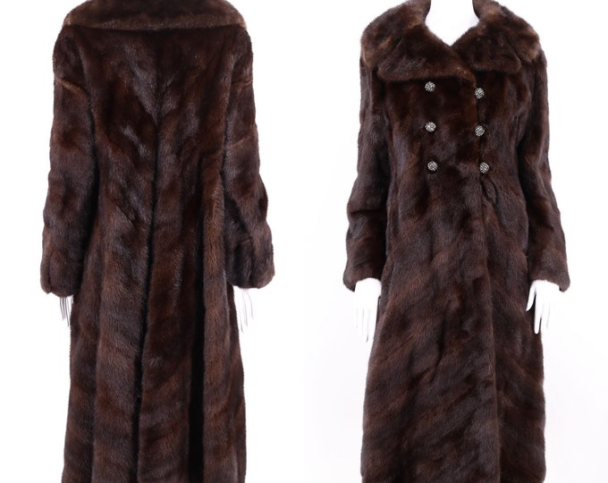 vintage Ranch Mink chocolate chevron pattern fur coat / vintage 1970s Black Diamond mink high end supple full sweep coat M 70s