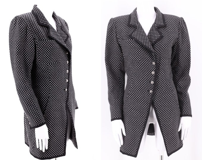80s UNGARO black check tailored jacket 8 / vintage 1980s designer long blazer suit