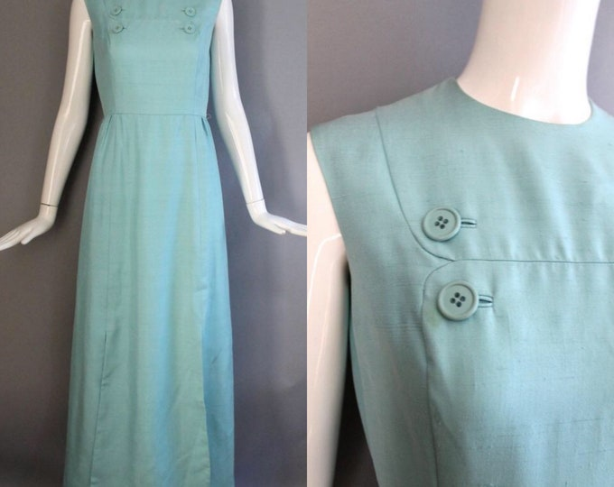 60s GEOFFREY BEENE silk gown size 8 /  vintage slubbed silk robins egg blue tailored button shift GOWN evening dress vintage designer 1960s
