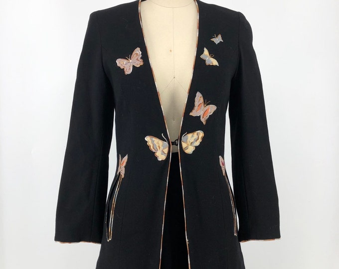 70s JANICE WAINWRIGHT black wool butterfly appliqué crepe skirt and jacket set 1970s vintage England 6