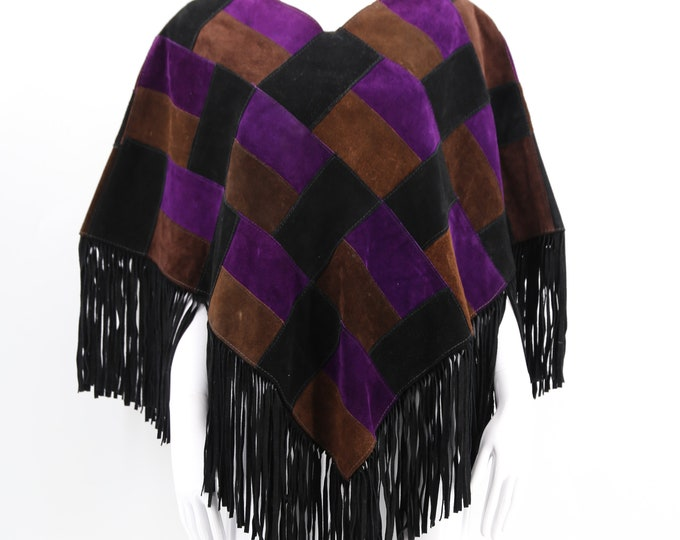 70s suede patchwork poncho / vintage Woodstock era fringe leather cape purple black brown One Size 1970s 60s