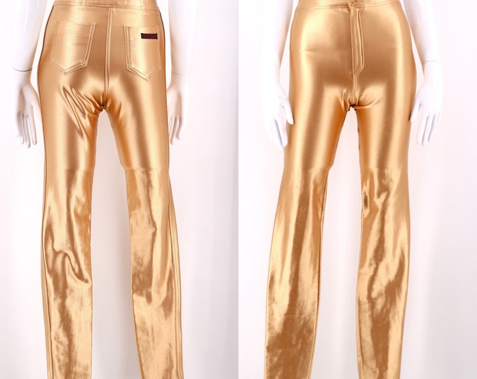 70s gold TIGHT END original spandex disco pants S / vintage 1970s shiny skin tight leggings size 6-8