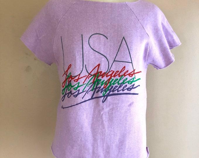 80s Los Angeles USA lilac logo cut off sweatshirt T shirt / vintage 1980s Jansport sz S