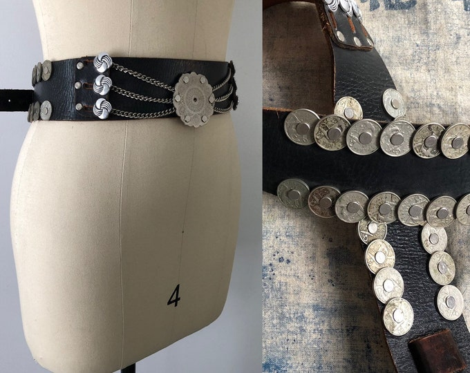 vintage ARGENTINIAN GAUCHO black leather and coin heavy metal waist BELT 60s