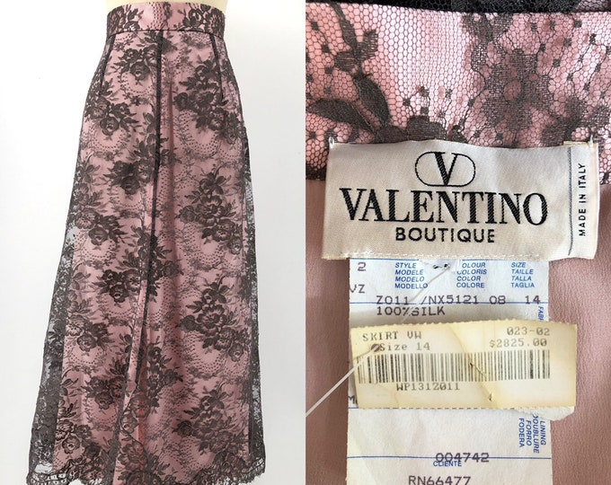 90s VALENTINO shell pink & taupe lace illusion SKIRT vintage 1990s elegant evening 14