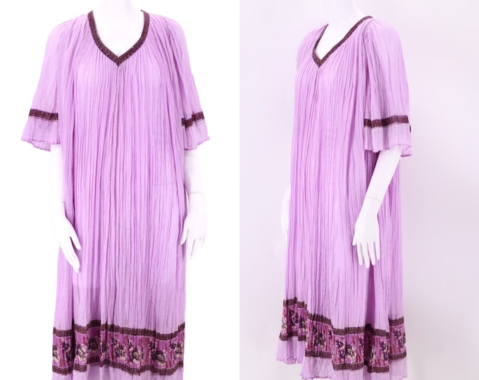70s lilac INDIA cotton caftan L / vintage 1970s sheer gauze loose pleated kaftan dress XL