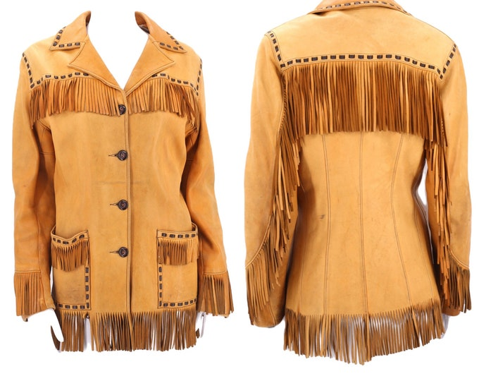 40s buckskin leather western fringe jacket M  / vintage 1940s tailored pin up cowgirl tan fringed jacket 50s 8-10