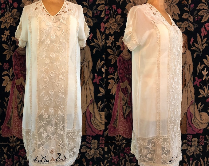 20s cotton & lace tea dress / vintage 1920s antique drop waist flapper dress Art Deco Gatsby party era size M