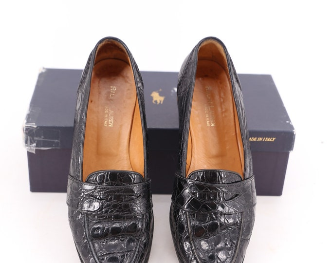 90s crocodile RALPH LAUREN vintage  black leather penny loafers flats shoes 7.5 B 1990s