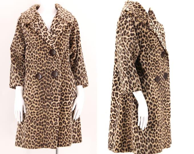 50s vintage leopard print faux fur coat Med  / vintage Kilimanjaro cheetah plush fur flared A line coat 1960s 50s size M