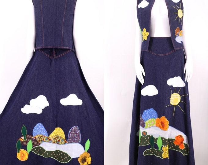 70s DOTTI DIDIT appliqué denim set 8 / vintage 1970s art to wear vest top & maxi skirt dress M