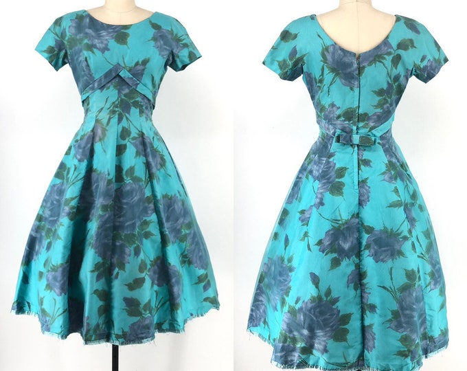 50s FLORAL ORGANZA full skirted garden party DRESS 1950s vintage Junior Vogue S