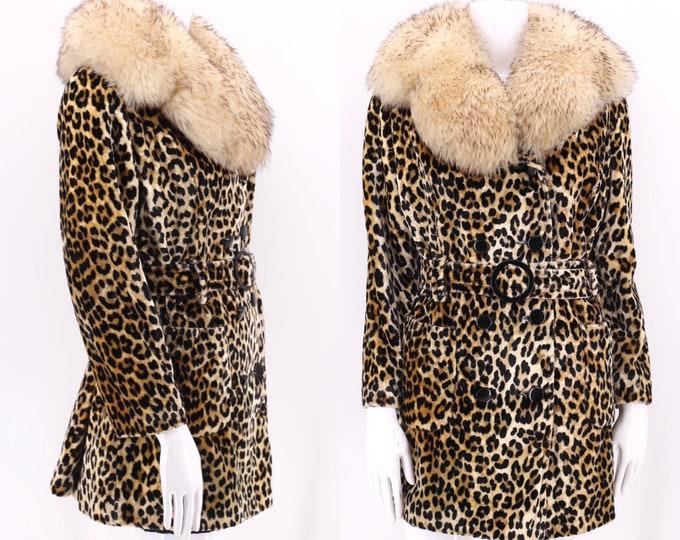 70s vintage leopard print shearling trim faux fur coat M  / vintage cheetah plush fur collar coat 1960s 1970s M-L