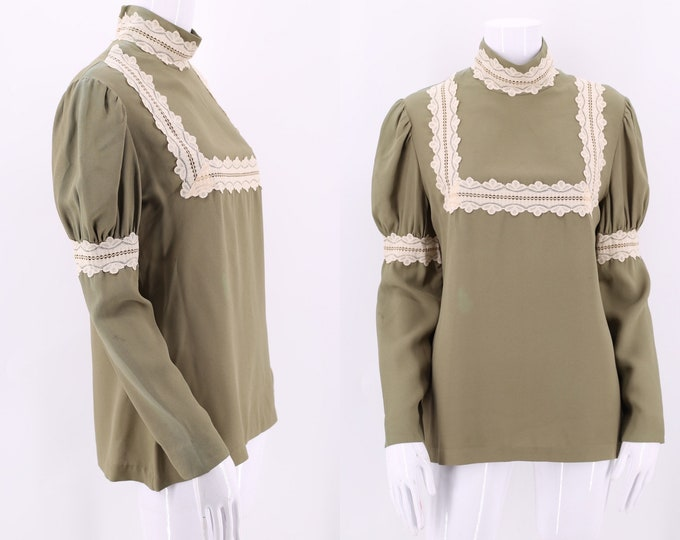 70s SF SHIRT WORKS sage rayon puff sleeve blouse M/  vintage 1970s San Francisco Victorian prairie blouse top