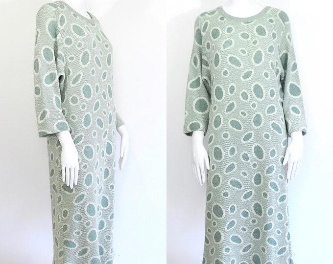 80s knit MISSONI bubble print sweater dress / vintage 80s 90s cotton wool knit sheath zig zag 1990s size L
