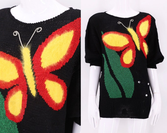 80s mohair butterfly black sweater size L / vintage 1980s print rhinestone knit top Large
