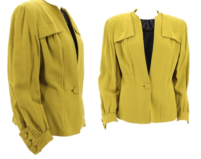 30s 40s acid green wool jacket sz M / vintage late 1930s 1940s chartreuse strong shoulder suit jacket blazer attached top M