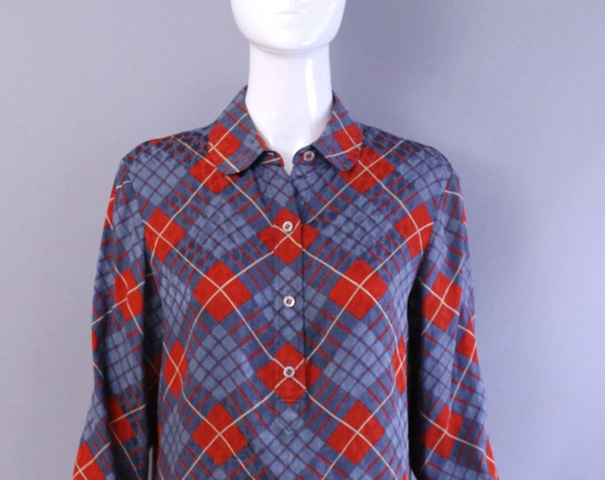 80s GEOFFREY BEENE argyle plaid Silk Printed Blouse tunic top vintage size 10 1980s 70s