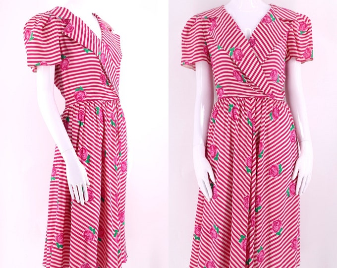 80s ALBERT NIPON silk striped floral print summer dress size 8 / 1980s vintage flirty puff sleeve pink dress