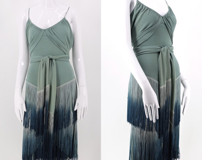 vintage MOSCHINO art deco flapper fringe jersey slip dress / sage blue green sash tie with ombre fringe sz 8
