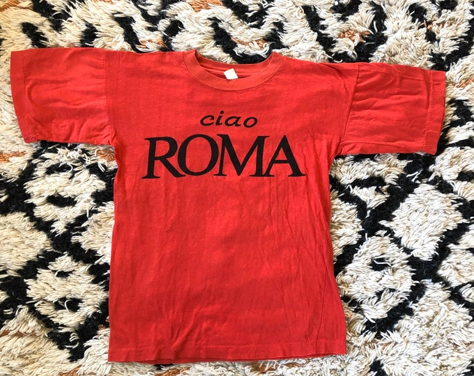"""70s red CIAO ROMA cotton graphic logo t shirt / vintage 1970s Italy shirt 38"""""""