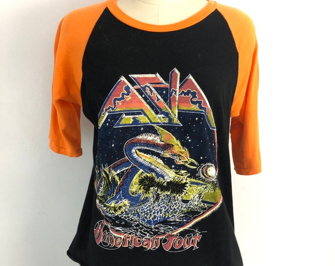 70s ASIA concert parking lot baseball jersey BAND T shirt 1970s vintage M