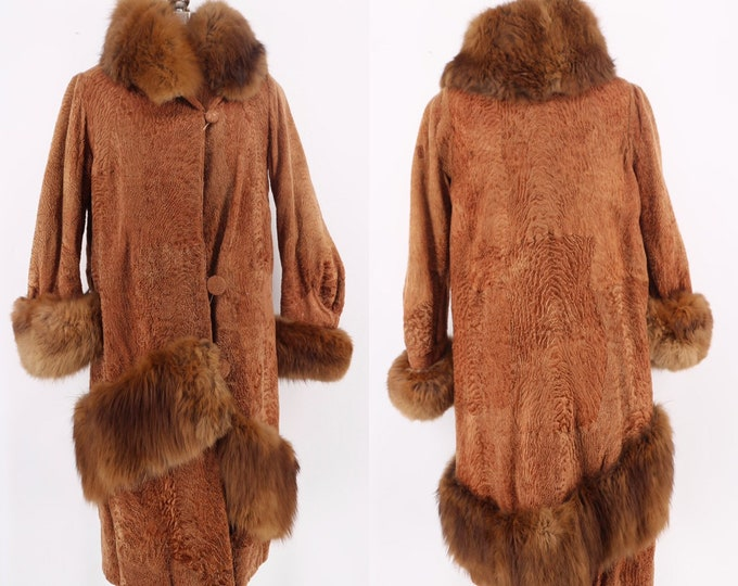 20s Art Deco lamb & fox fur trim flapper coat L