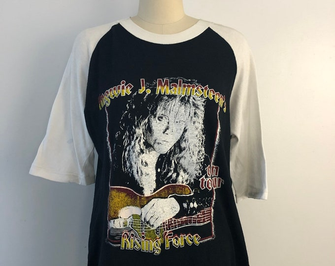 80s YNGWIE J MALMSTEEN 1983 Rising Force tour concert T SHIRT rock band vintage 1980s L