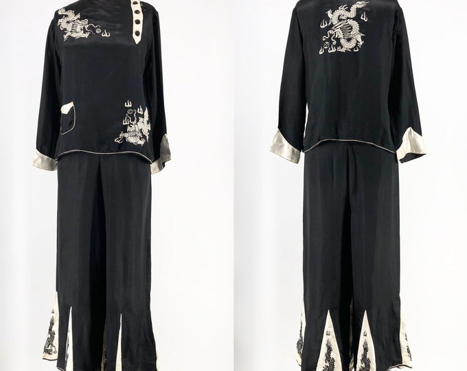 20s 30s Chinese black silk dragon embroidered lounge pajamas L