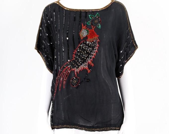 70s Judith Ann vintage blouse / black bird of paradise print evening top sequin chiffon 1970s disco size S-M