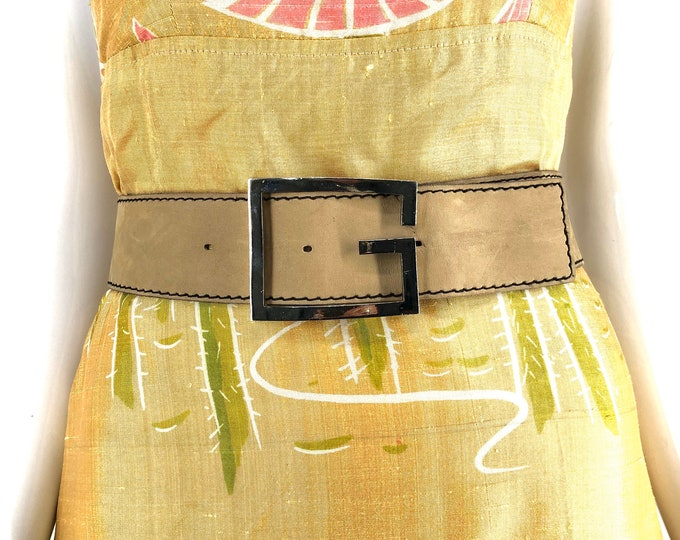 70s suede GIVENCHY silver G buckle wide belt / vintage 1970s designer neutral bone beige belt 28""