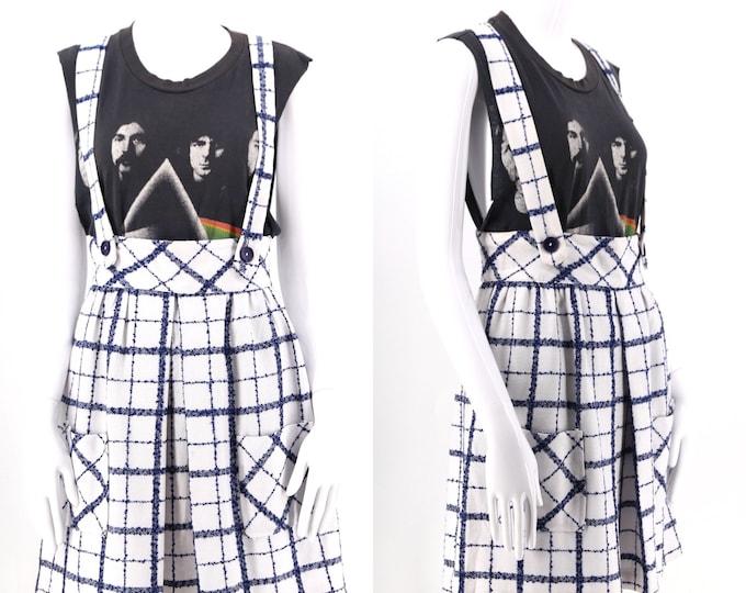 "60s white & navy crosshatch apron dress / vintage 1960s check suspender mini dress 29"" waist"