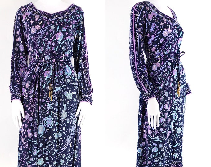 70s Emilio Pucci silk jersey signed print dress sz L / 1970s vintage Pucci floral print navy & lavender dress w/ belt 12
