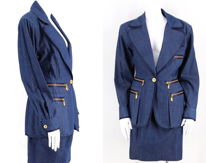 90s DONNA KARAN chambray denim suit sz 8 / vintage 1990s zipper blazer mini skirt set dkny