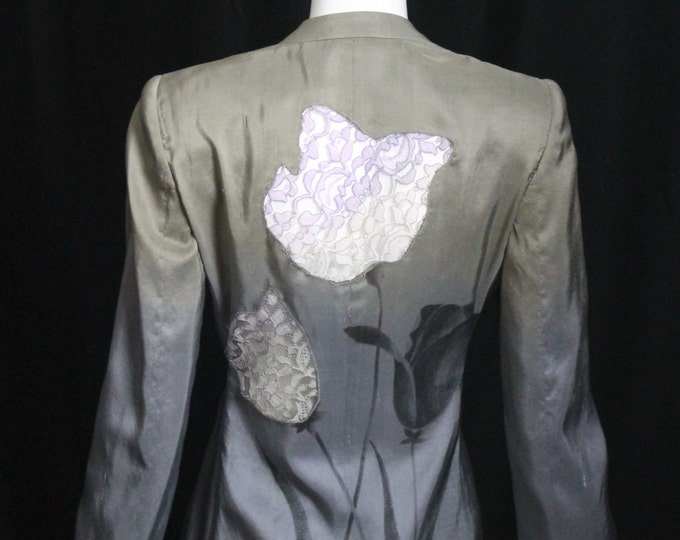 1990s vintage GIORGIO ARMANI grey ombré dip dye graduated color floral sheer lace back tie front draped silk blazer jacket 40 6